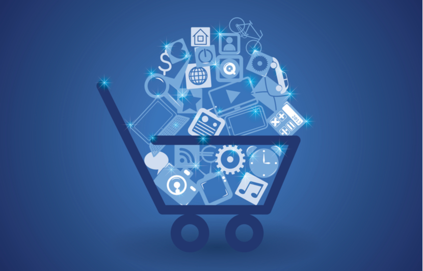 Stylized image of a shopping cart with media logos to represent media buying
