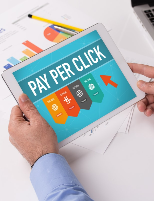 Image of Pay Per Click/Google Adwords graphic on a tablet